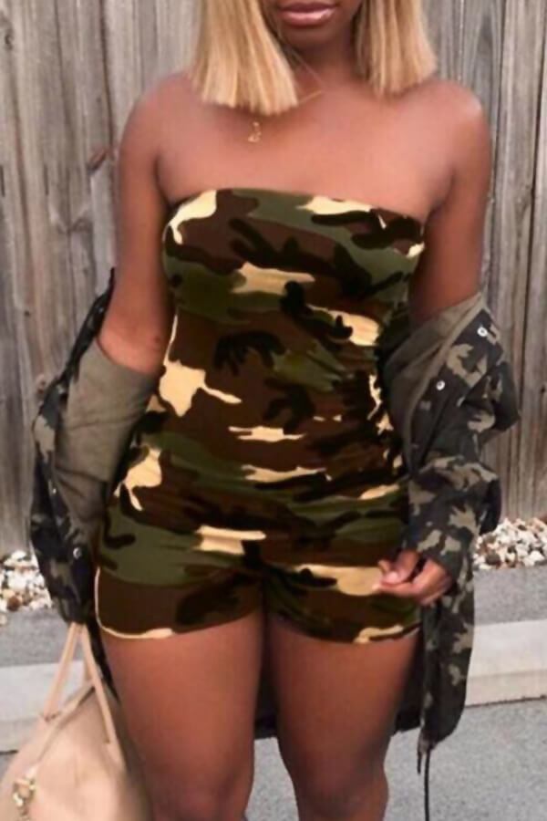 Lovely Casual One Shoulder Camouflage Printed One-piece Romper(With Elastic)
