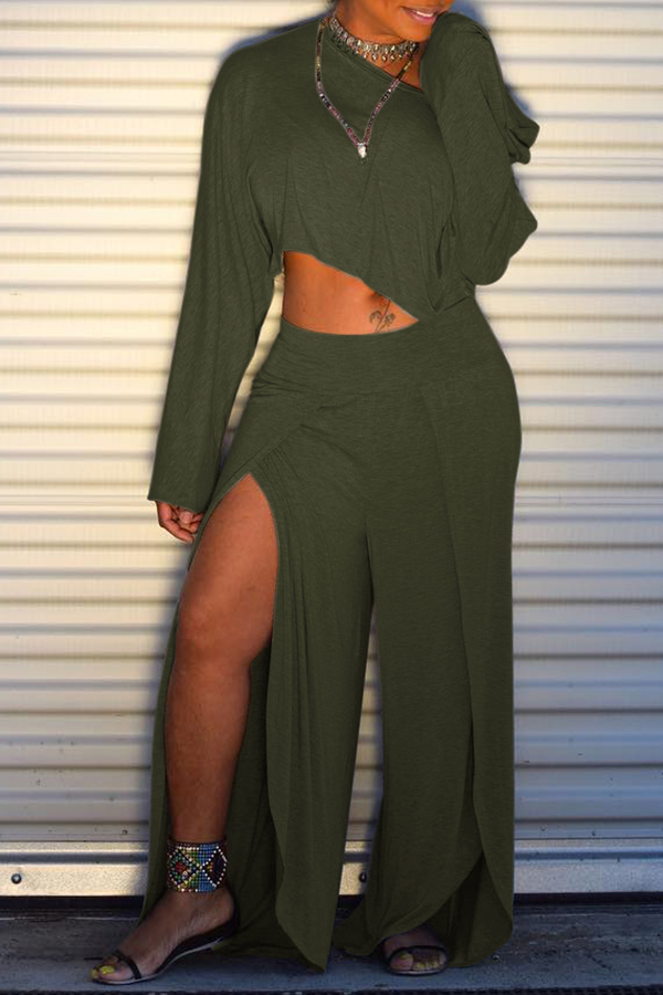 Lovely Trendy Side High SlitGreen Two-piece Pants Set