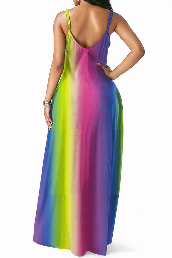 Lovely Casual Tie-dye Floor Length Dress(With Elastic)