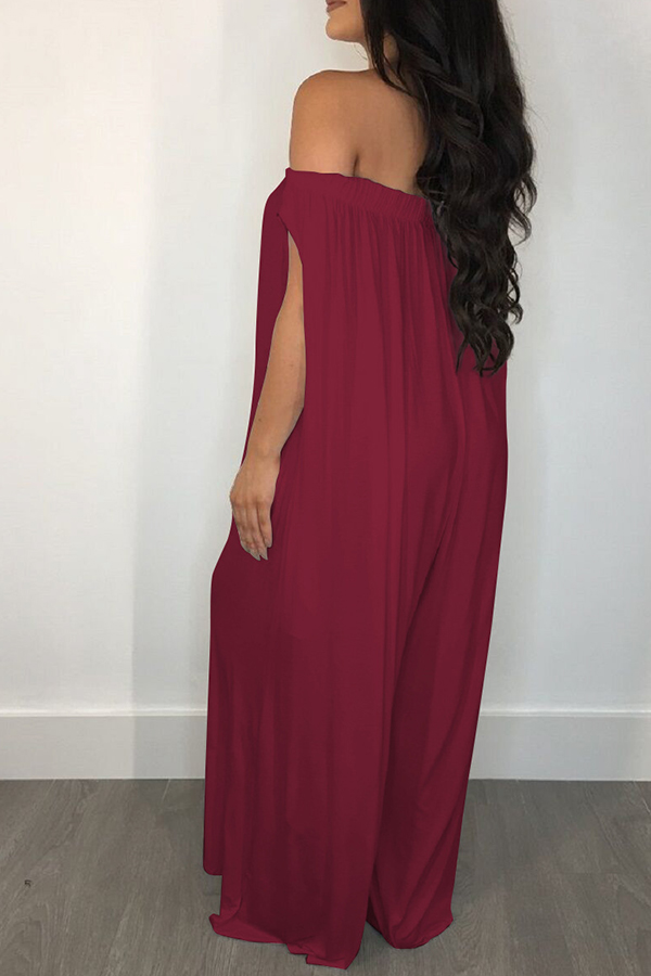 lovelywholesale / Lovely Casual Off The Shoulder Wine Red Loose One-piece Jumpsuit