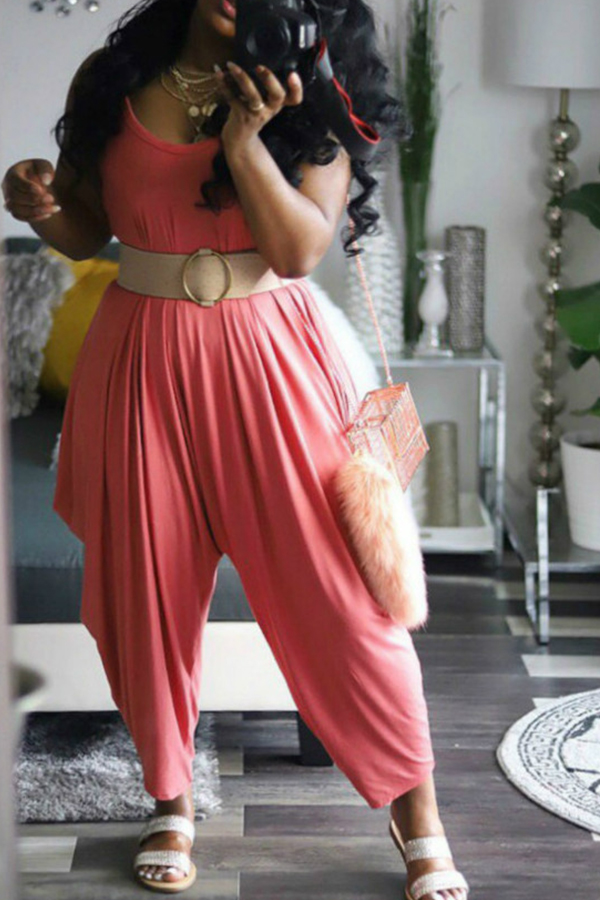 lovelywholesale / Lovely Casual Watermelon Red Loose One-piece Jumpsuit