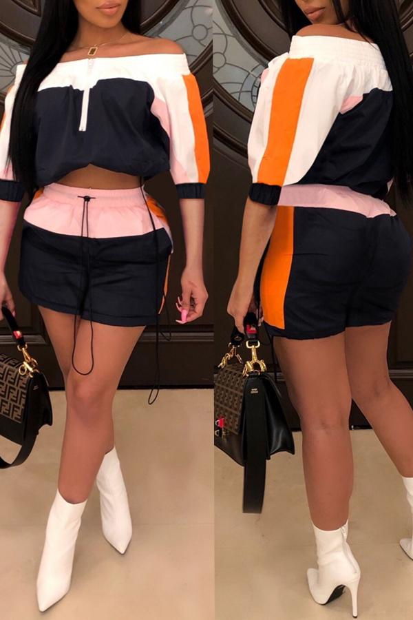 Precioso Conjunto De Pantalones Cortos Negros De Dos Piezas De Remiendo En El Hombro