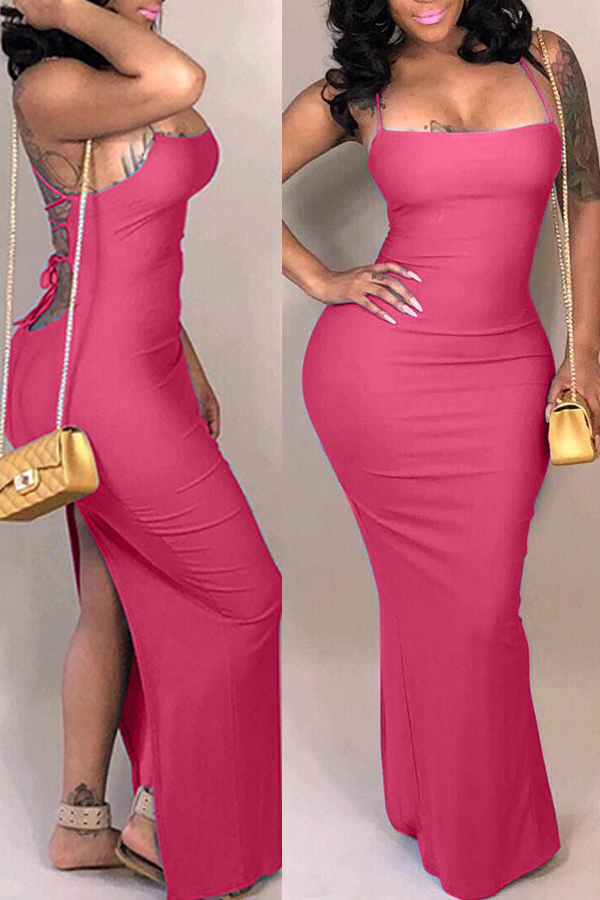 Lovely Casual Backless Rose Red Ankle Length Dress
