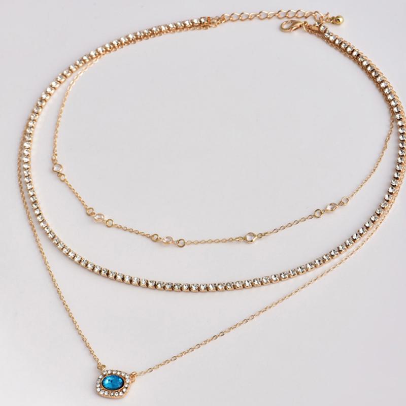 Lovely Bohemian Rhinestone Decoration Gold Necklace