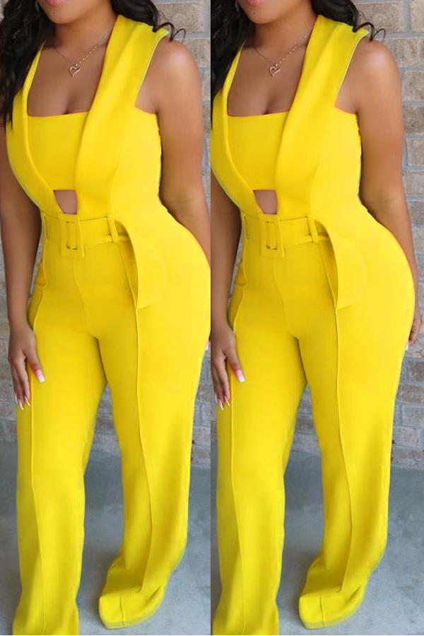 70b91521f138 Lovely Stylish Hollow-out Yellow One-piece Jumpsuit(With Elastic)  ...