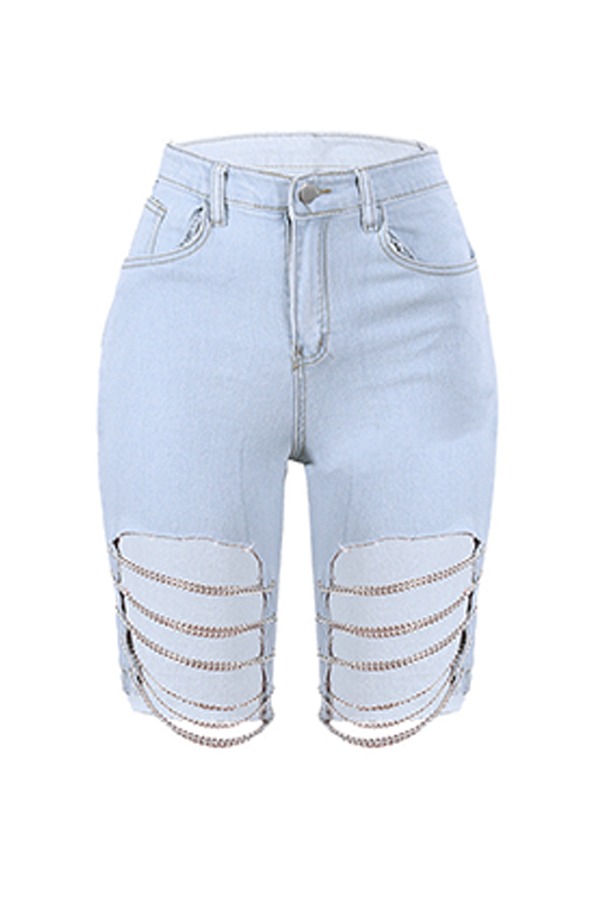 Lovely Casual Hollow-out Blue Jeans