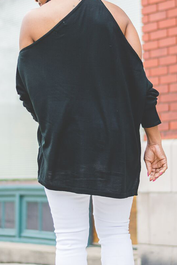 Lovely Work Dew Shoulder Black Blouses