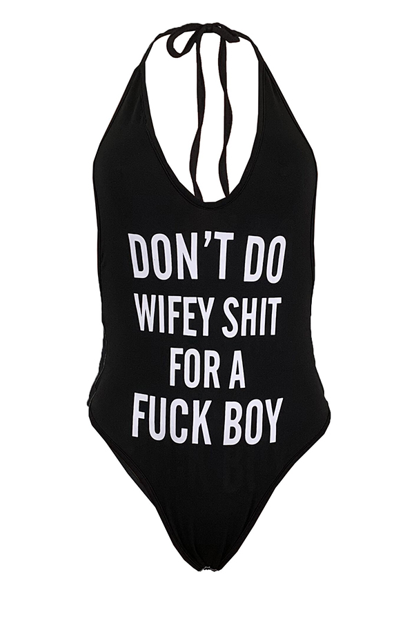 Lovely Sexy Letter Printed Black One-piece Swimwear