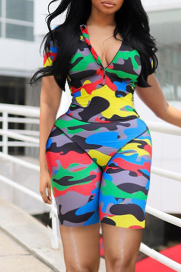 Lovely Casual Printed Yellow Camouflage One-piece Romper