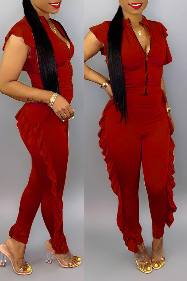 lovelywholesale / Lovely Casual Zipper Design Wine Red One-piece Jumpsuit