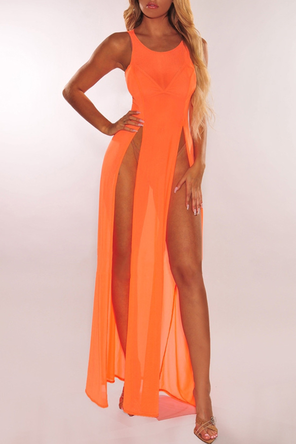 Lovely Sexy Orange See-through High Split Cover-up(Without Lining)