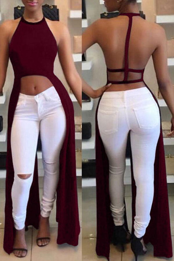 Lovely Sexy Backless Asymmetrical Wine Red Blouse