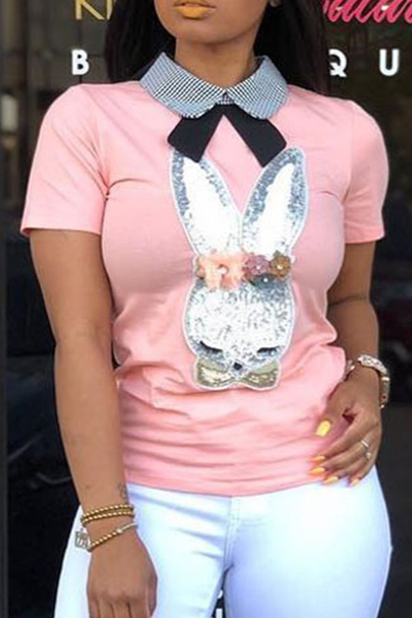 Lovely Casual Printed Pink T-shirt