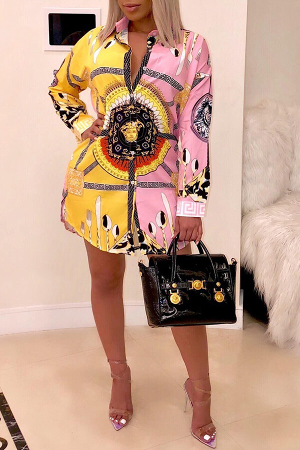 Lovely Casual Turndown Collar Printed Patchwork Mini Dress