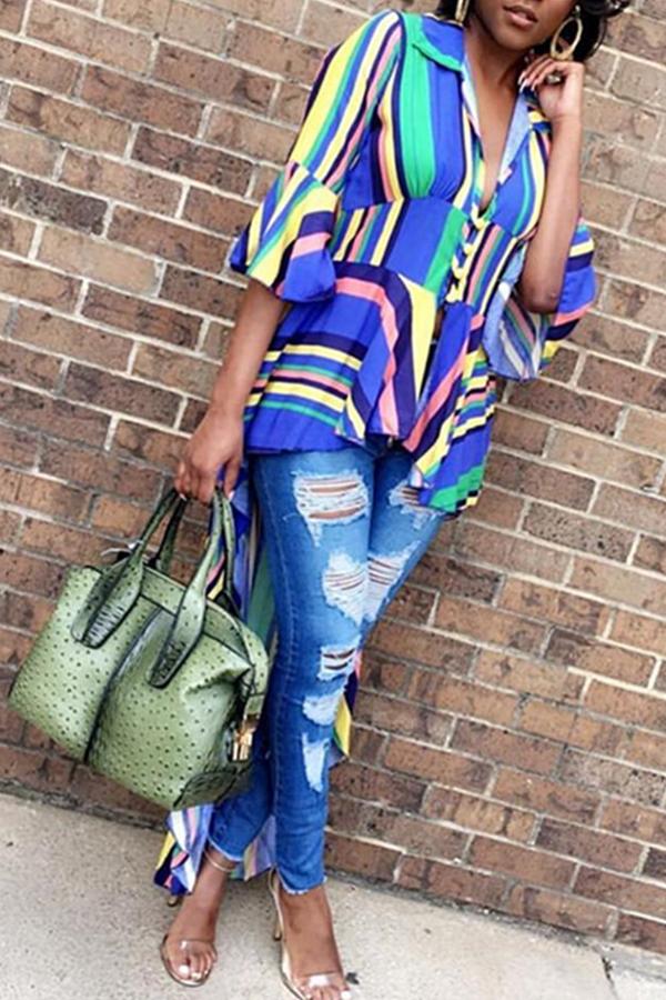 lovelywholesale / Cheap Blouses&Shirts Lovely Stylish Striped Asymmetrical Shirts