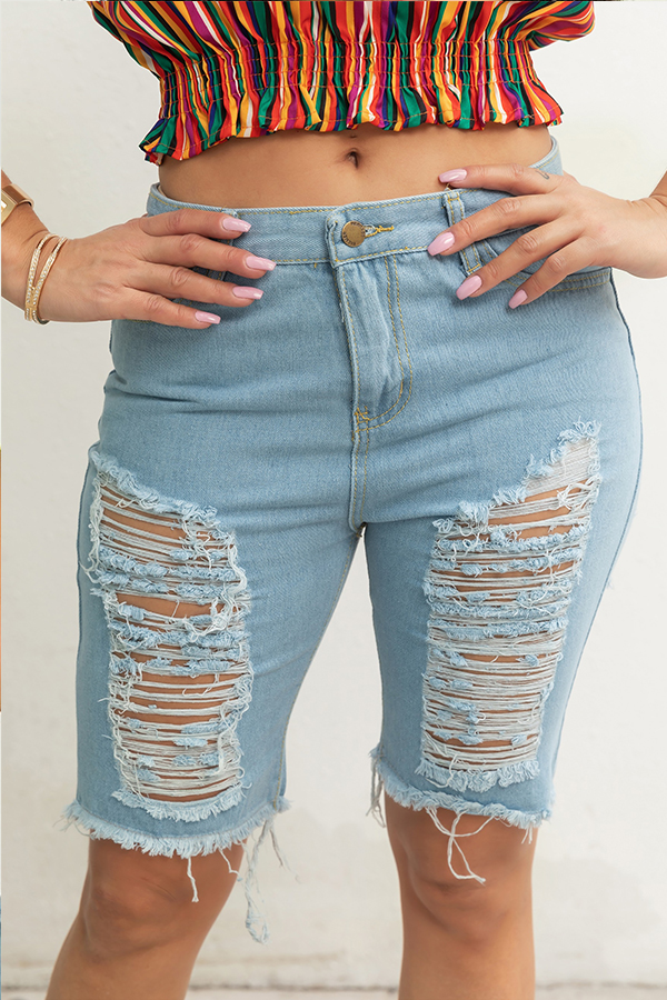 Lovely Casual Broken Holes Baby Blue Jeans