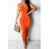 Lovely Sexy Ruffle Slim Orange Ankle Length Dress
