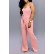 Lovely Casual Lace-up Pink One-piece Jumpsuit(With Elastic)