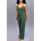 Lovely Casual Lace-up Army Green One-piece Jumpsuit(With Elastic)