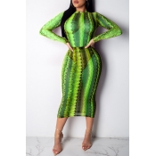 Lovely Sexy See-through Green Mid Calf Dress(Witho