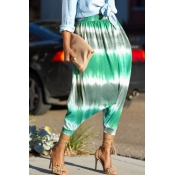 Lovely Leisure Printed Green Loose Pants(Nonelasti