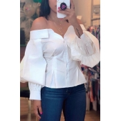 Lovely Leisure Lantern Sleeve White Blouses