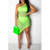Lovely Sexy One Shoulder Light Green Asymmetrical