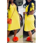 Lovely Casual Loose Straight Yellow Knee Length Dress
