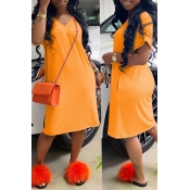 Lovely Casual Loose Straight Orange Knee Length Dress