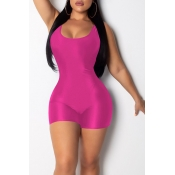Lovely Casual Rose Red One-piece Romper(With Elastic)