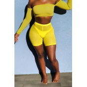 Lovely Trendy Dew Shoulder Yellow Two-piece Shorts