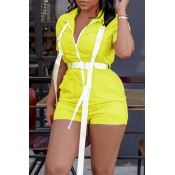 Lovely Casual Zipper Design Yellow One-piece Rompe