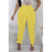 Lovely Stylish High Waist Lace-up Yellow Pants