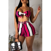 Lovely Sexy Striped Knot Design Rose Red Two-piece Swimwear