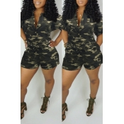 Lovely Casual Camouflage Printed Green One-piece Romper