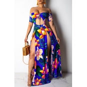 Lovely Off The Shoulder Printed Ankle Length A Lin