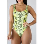 Lovely Backlss Snakeskin Pattern Green One-piece S