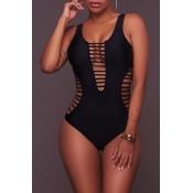 Lovely Black U Neck Hollow-out One-piece Swimwear