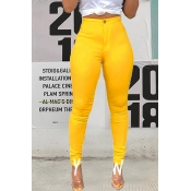 Lovely Casual High Waist Yellow Pants(With Elastic