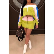 Lovely Trendy Patchwork Yellow Two-piece Skirt Set