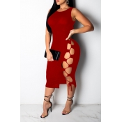 Lovely Casual Lace-up Hollow-out Wine Red Mid Calf Dress(With Elastic)