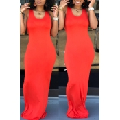 Lovely Casual Light Orange Floor Length Dress(With Elastic)