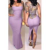Lovely Casual Backless Light Purple Ankle Length Dress