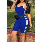 Lovely Casual Striped Patchwork Royal Blue One-piece Romper