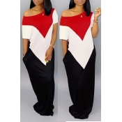 Lovely Casual Patchwork White Floor Length Dress(With Elastic)