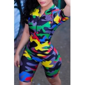 Lovely Casual Printed Yellow Camouflage One-piece