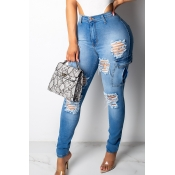 Lovely Trendy High Waist Broken Holes Blue Jeans
