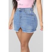 Lovely Casual Blue Denim Mini A Line Skirt