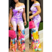 Lovely Bohemian Off The Shoulder Printed Purple One-piece Jumpsuit