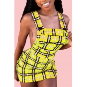Lovely Sexy U Neck Backless Plaid Yellow Mini A Li